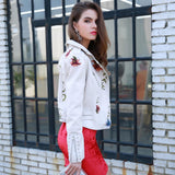New Horizons White Faux Leather Embroidered Jacket - Fashion Genie Boutique