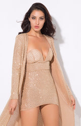 Rise & Shine Gold Glitter Floor Length Jacket - Fashion Genie Boutique USA Alt