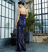 Sweet Vision Blue Strapless Sequin Spilt Maxi Gown Dress - Fashion Genie Boutique