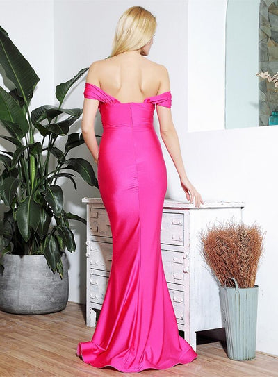 She's Flawless Pink Bardot Fishtail Maxi Dress