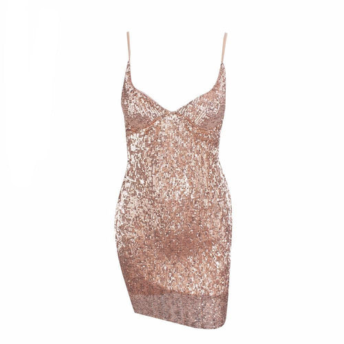 En Vogue Champagne Sequin Mini Dress - Fashion Genie Boutique USA Alt