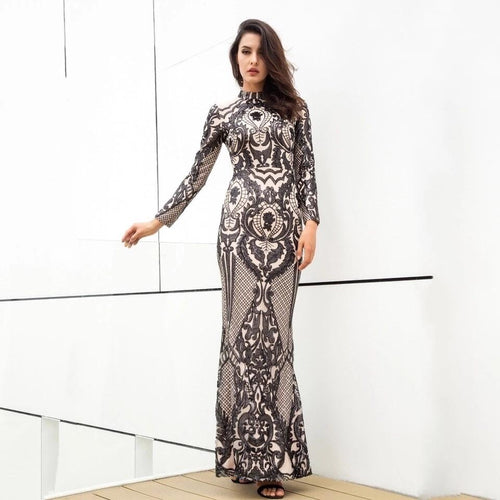 Secret Lust Black Sequin Long Sleeve Maxi Dress - Fashion Genie Boutique USA Alt