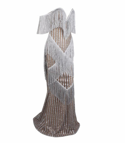 Graceful Grandeur Silver Bardot Fringe Sequin Maxi Dress - Fashion Genie Boutique