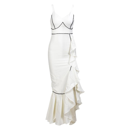 Señorita White Ruffle Maxi Dress - Fashion Genie Boutique