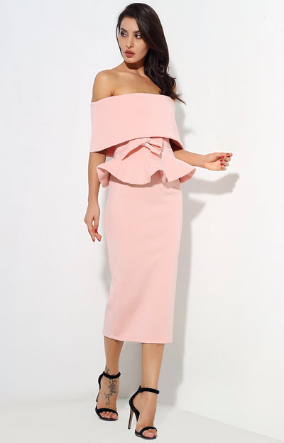 Hope Pink Peplum Bardot Top & Midi Skirt Dress - Fashion Genie Boutique USA Alt