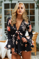 Prairie Daydream Charcoal Floral Print Playsuit - Fashion Genie Boutique