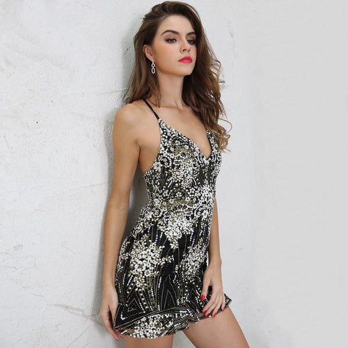 Oh My Love Black Multi Embellished Mini Dress - Fashion Genie Boutique