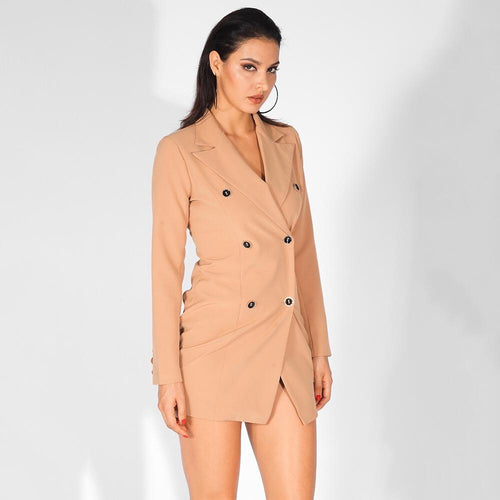 Deep Vision Nude Wrap Blazer Dress - Fashion Genie Boutique