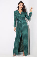 Space Between Us Green Stripe Glitter Wrap Maxi Dress - Fashion Genie Boutique USA Alt