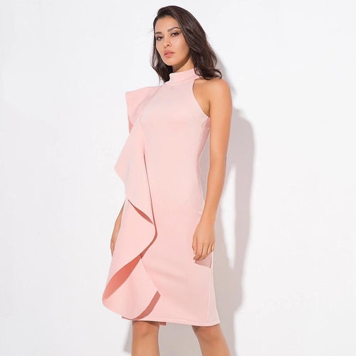 Make Your Move Pink Frill Bodycon Midi Dress - Fashion Genie Boutique