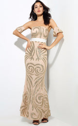 Senorita Nude & Gold Glitter Bardot Maxi - Fashion Genie Boutique USA Alt