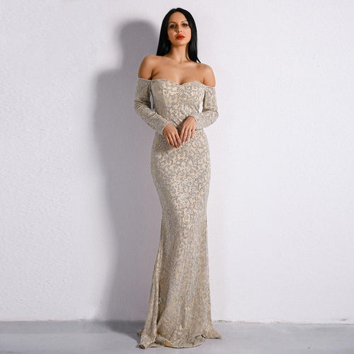 Pick of the Glitter Silver Long Sleeve Bardot Maxi Dress - Fashion Genie Boutique USA Alt