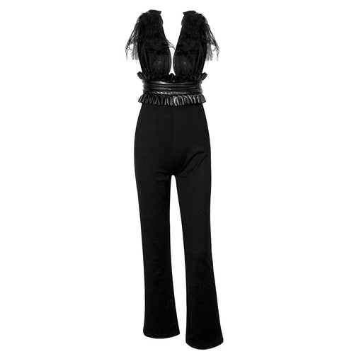 Love Spell Black Mesh Strap Jumpsuit
