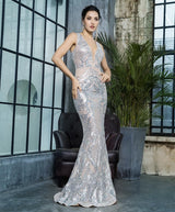 Sweet Evidence Silver Sequin Fishtail Maxi Dress