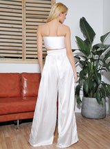 Elora White Crop Top & Wide Leg Trousers Co-Ord - Fashion Genie Boutique