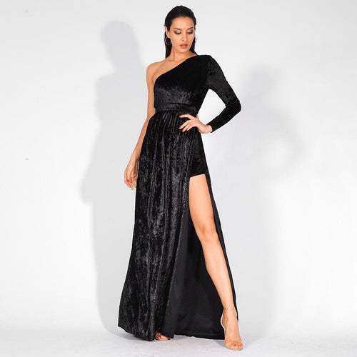 Just One Wish Black Velvet One Shoulder Long Sleeve Maxi Playsuit - Fashion Genie Boutique