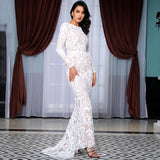 Forever Flawless White Sequin Long Sleeve Maxi Fishtail Gown Dress - Fashion Genie Boutique
