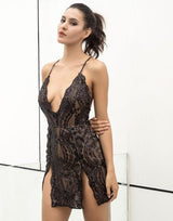 Hella Stella Black Sequin Double Split Mini Dress - Fashion Genie Boutique