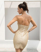 Golden Glory Gold Pearl & Glitter Embellished Mini Dress - Fashion Genie Boutique USA Alt
