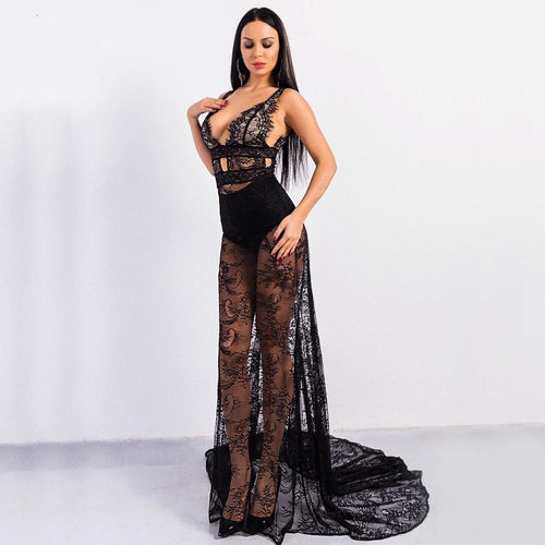 Embrace The Lace Black Plunge Maxi Dress - Fashion Genie Boutique