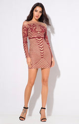 Meryl Red & Nude Glitter Long Sleeve Mini Dress - Fashion Genie Boutique USA Alt