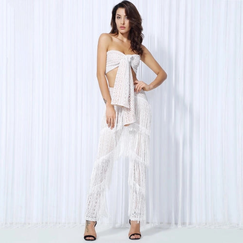 Carla White Two Piece Fringed Pants & Crop Top - Fashion Genie Boutique USA Alt