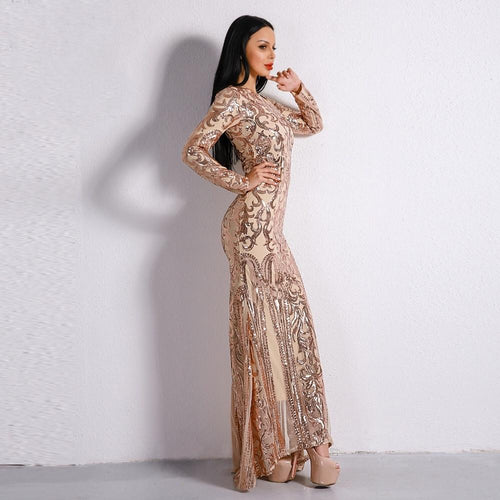 9b6f258a6a9 Unrequited Love Rose Gold Sequin Long Sleeve Maxi Dress - Fashion Genie  Boutique