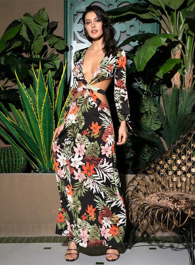 Floral Electric Black Multi Long Sleeve Floral Maxi Dress