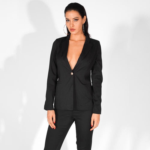 Nine To Five Black One Button Blazer - Fashion Genie Boutique