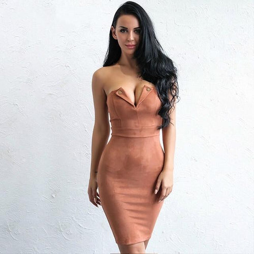 So Into You Brown Suede Mini Dress - Fashion Genie Boutique USA Alt