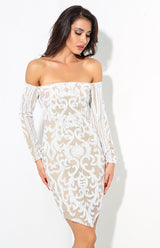 Babe Status White & Nude Long Sleeve Sequin Mini Dress - Fashion Genie Boutique USA Alt