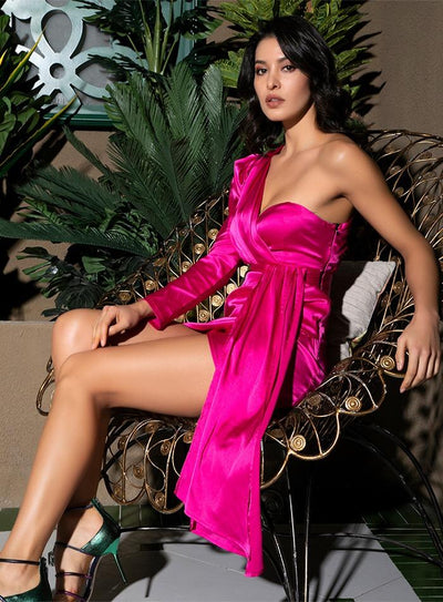 Sophisticated Sass Hot Pink One Shoulder Satin Mini Dress