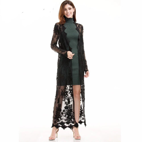 Chelsea Black Lace Robe - Fashion Genie Boutique USA Alt