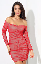 Stunner Love Red Ruched Bardot Mini Dress - Fashion Genie Boutique USA Alt