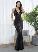 Sorrento Vibes Black Backless Sequin Maxi Gown Dress - Fashion Genie Boutique