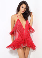 Secret Desire Red Lace Fringed Party Dress - Fashion Genie Boutique USA Alt