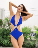 Sun Lover Blue Monokini Swimsuit With Crystal Body Chain - Fashion Genie Boutique