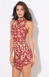 Day Dream Red Glitter Embellished Mini Dress - Fashion Genie Boutique USA Alt