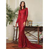 Elegant Bliss Red Glitter Embellished Long Sleeve Maxi Gown Dress - Fashion Genie Boutique