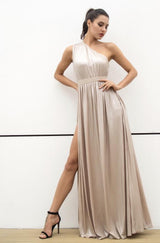 Dream Day Nude Lace Asymmetric Satin Maxi Dress - Fashion Genie Boutique