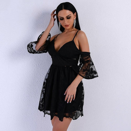 Yolanda Black Cold Shoulder Skater Mini Dress - Fashion Genie Boutique