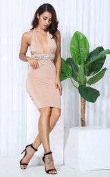 Envy Nude Crystal Embellished Bodycon Mini Dress - Fashion Genie Boutique USA Alt
