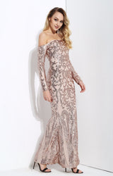 Invite To Shine Rose Gold Bardot Sequin Maxi Dress - Fashion Genie Boutique