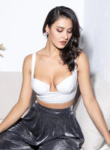 Only In Dreams Silver Glitter Bralet Crop Top