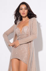 Rise & Shine Silver Glitter Floor Length Jacket - Fashion Genie Boutique USA Alt