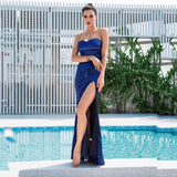 Disco Belle Navy Sequin Strapless Split Maxi Gown Dress - Fashion Genie Boutique