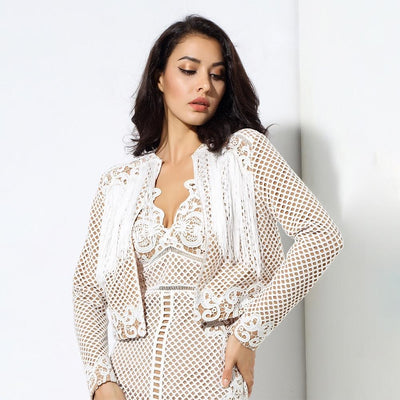 Shake It White Tassel Jacket - Fashion Genie Boutique