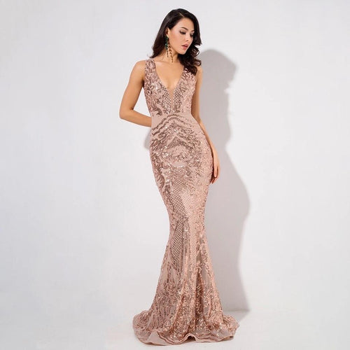 Sweet Evidence Rose Gold Sequin Fishtail Maxi Dress