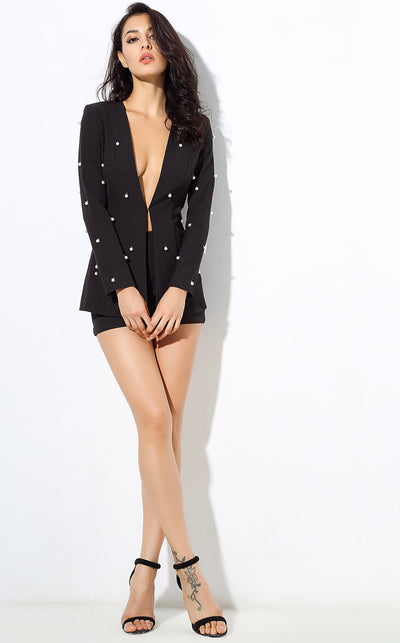 Bethany Black Pearl Shorts and Blazer Co-Ord - Fashion Genie Boutique USA Alt