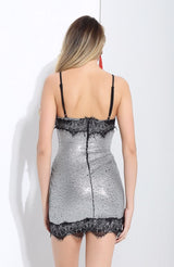 Miss Mayfair Black And Silver Lace Mini Dress - Fashion Genie Boutique